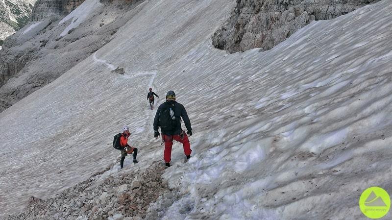 Droga do via ferrata Lipella w Alpach