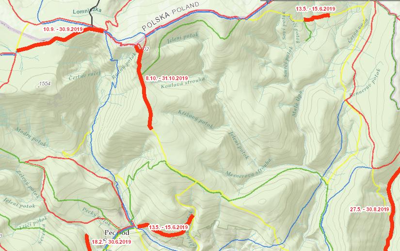 szlaki zamknięte wkarkonoszach strona czeska